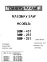 Norton Clipper Masonry Saw BBH Series Parts List - Rev. 1998