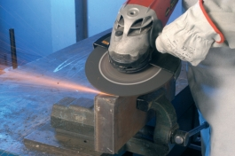 Grinding wheel in use