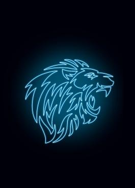 Lion Super Bleue 5 stylisé en néon