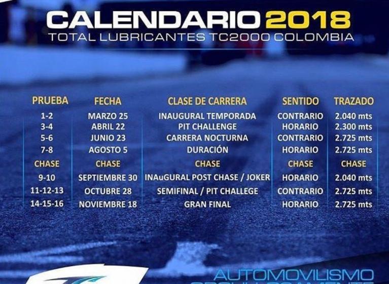Calendario 2018 TC 2000