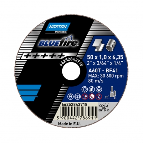 Norton Blue Fire Inox Cutting Disc for Straight Grinder Cut-Off