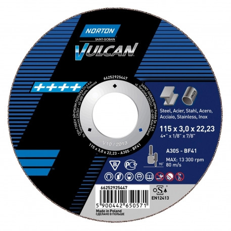 VULCAN for Right-Angle Grinder Ultra Thin Cut-Off on METAL INOX Ultra Thin Cut-Off