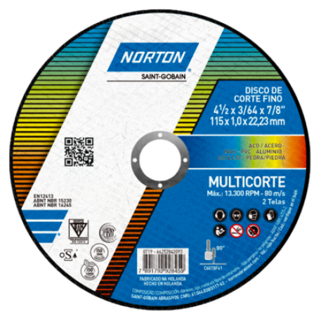 66252842093 - DISCO DE CORTE FINO NORTON MULTICORTE - 115 x 1_0 x 22_23 mm _ANG 01_157559